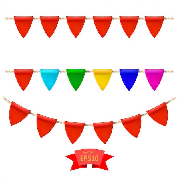 ロープの上の色とりどりの旗の基本的なrgset。あなたのデザインの要素ベクトルイラスト Premiumベクター