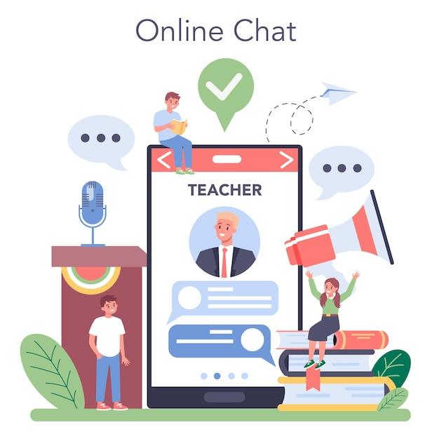 Rhetoric class online service or platform. voice training and speech improvement. public speaking techniques. online chat with professor. Premium Vector