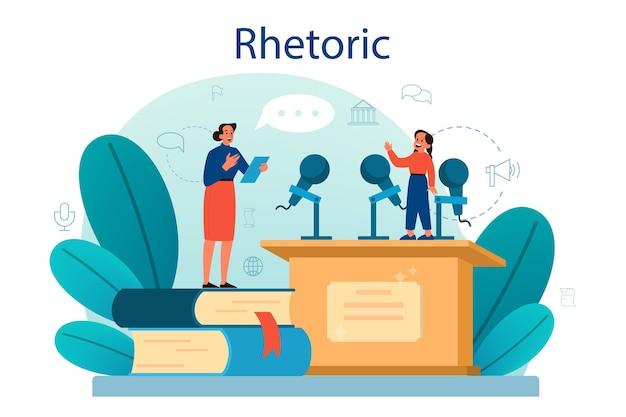 Rhetoric or elocution school class. Premium Vector
