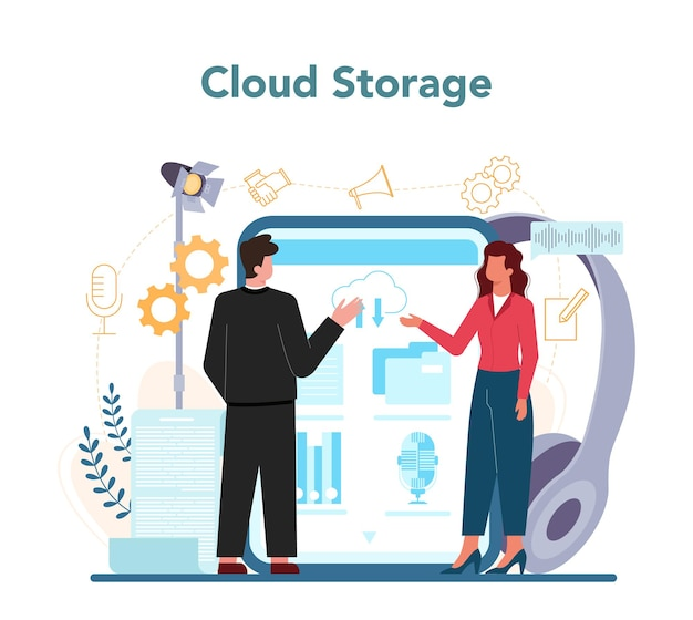 Rhetoric or elocution specialist online service or platform. professional speaker or commentator speaking to a microphone. cloud storage. vector illustration Premium Vector