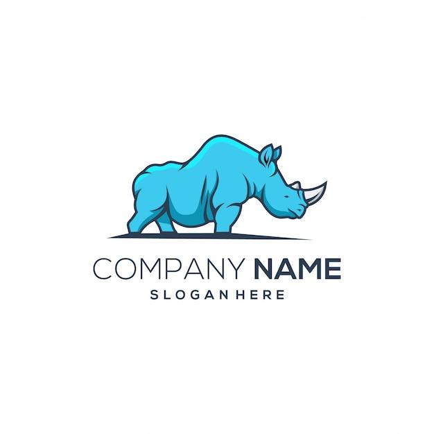 Rhino blue logo Premium Vector