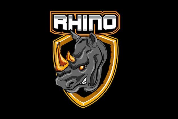Rhinoe-sportsチームのロゴテンプレート Premiumベクター
