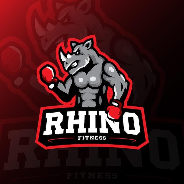Rhinoマスコットロゴゲームeスポーツイラスト Premiumベクター