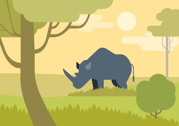 Rhino flat cartoon in savanna Free Vector