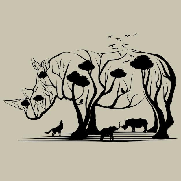 Rhino trees Premium Vector