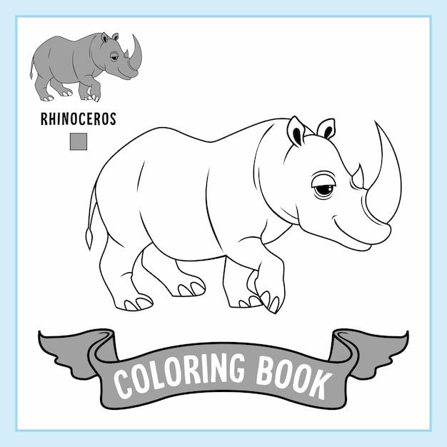 Rhinoceros animals rhino coloring pages book Premiumベクター