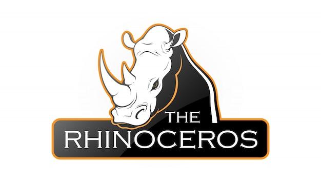 Rhinoceros logo Premium Vector