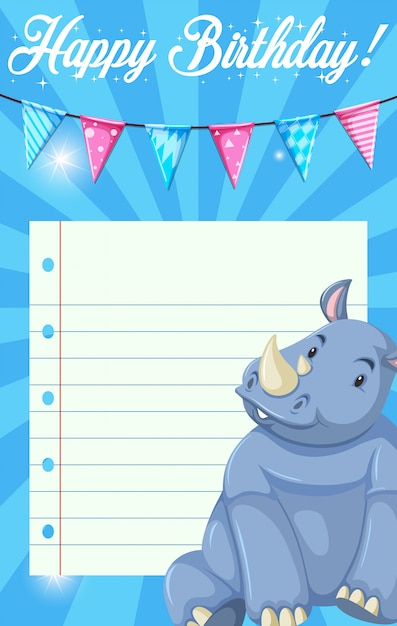 Rhinoceros on note template Free Vector