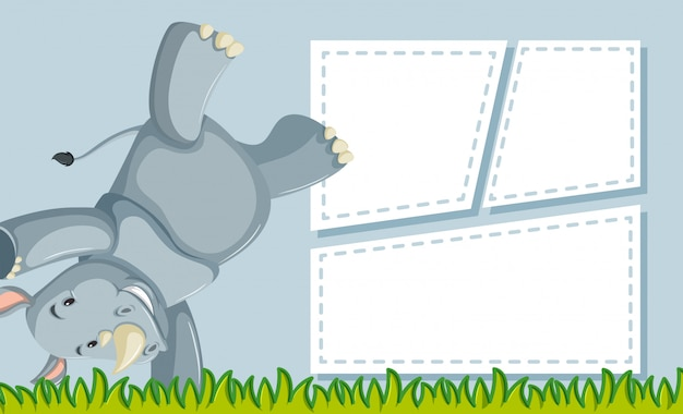 A rhinoceros on note template Free Vector