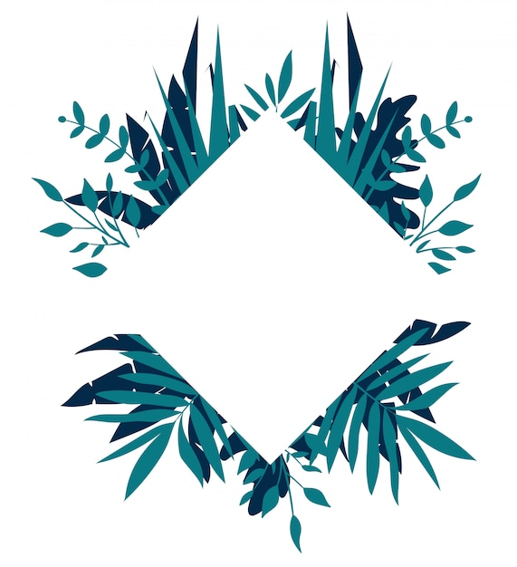 Rhombus tropical frame, template with place for text Premium Vector