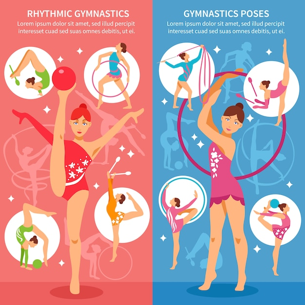 Rhythmic gymnastics vertical banners Free Vector