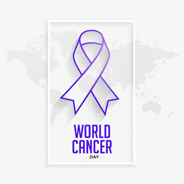 世界がんデーの紫色の線ribbconcept 無料ベクター
