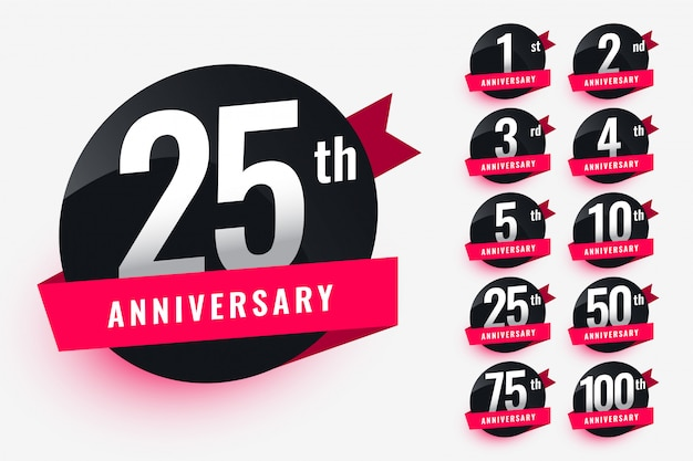 Ribbon anniversary labels set design Free Vector