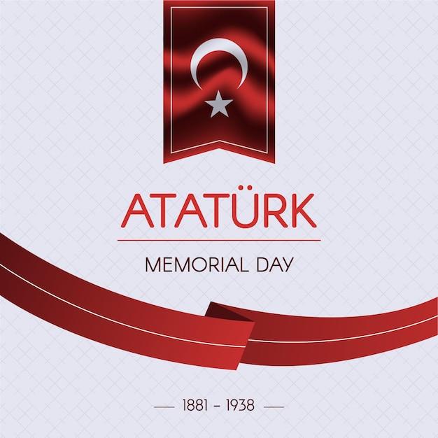 Nastro di design piatto ataturk memorial day Vettore gratuito