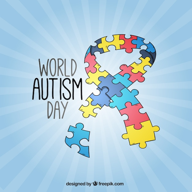 Ribbon autism day background made of puzzle pieces  Free Vector