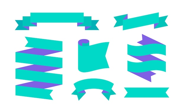 리본 배너. 텍스트, 문구에 대 한 간단한 리본 배너의 집합입니다. 흰색 바탕에 컬러 빈티지 올드 스쿨 실루엣 리본. 메시지의 그래픽 요소. 프리미엄 벡터
