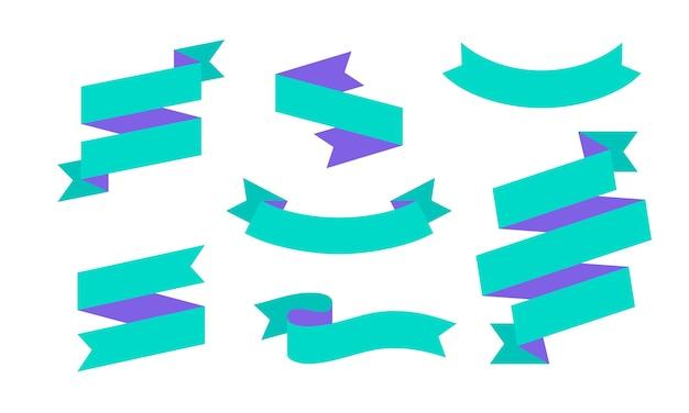 리본 배너. 텍스트, 문구에 대 한 간단한 리본 배너 세트 프리미엄 벡터