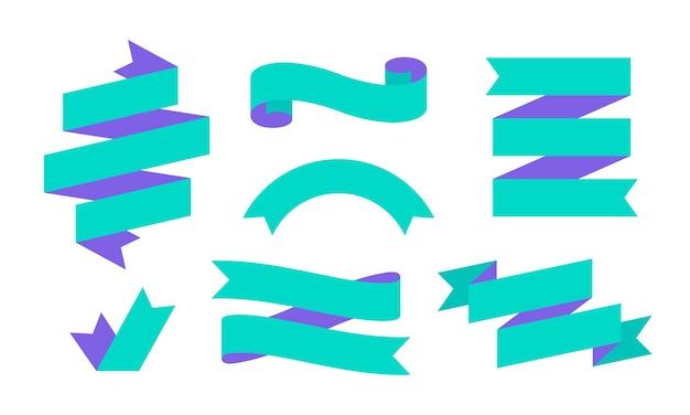 Лента баннер. набор простого баннера ленты для текста, фразы. Premium векторы