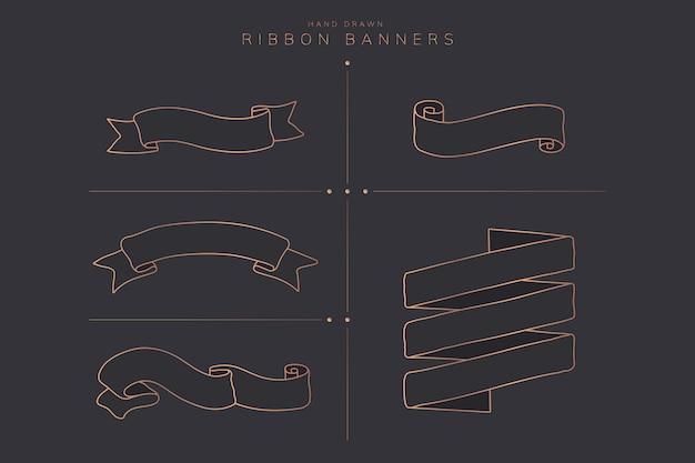 Ribbon banner set Free Vector