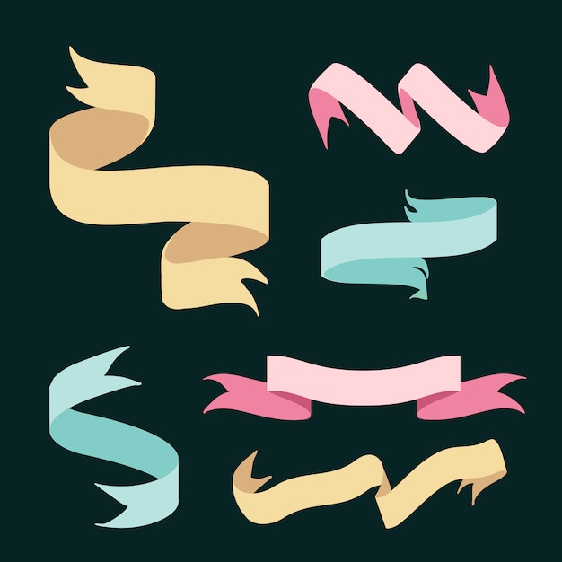 Ribbon banners doodle style set vector Free Vector