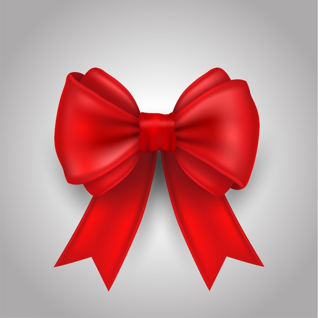 Ribbon bow vector illustration for love and card. Premium Vector