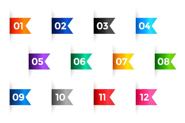Ribbon bullet points numbers from one to twelve Free Vector