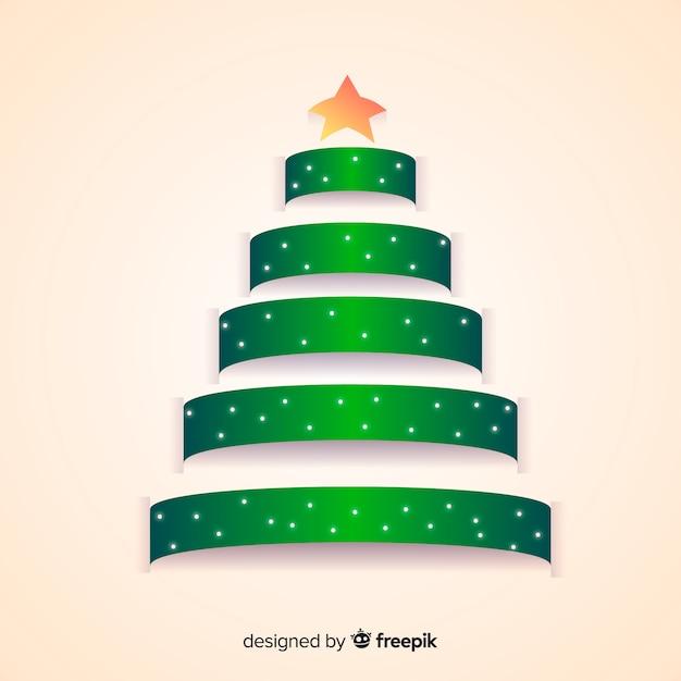 Ribbon christmas tree Free Vector