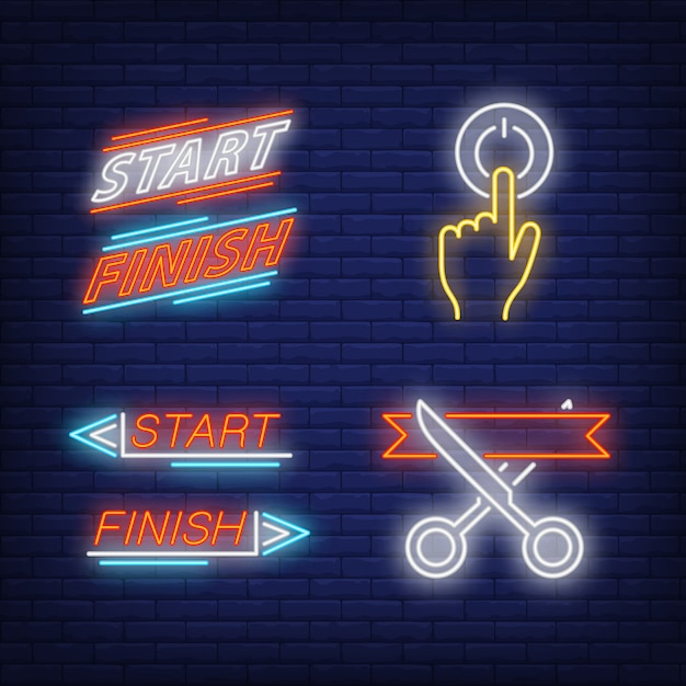 Ribbon cutting, switching on, start and finish neon signs set Free Vector