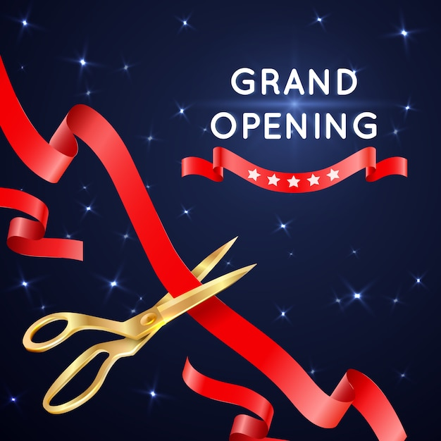 Ribbon cutting with scissors grand opening poster. banner with cut silk ribbon Premium Vector