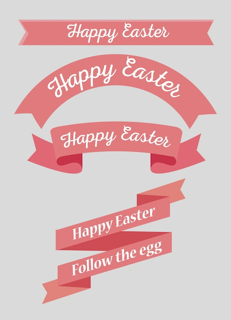 Ribbon decoration to happy easter event Free Vector