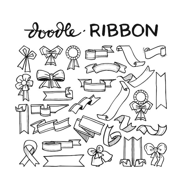 Ribbon doodle hand drawn Premium Vector