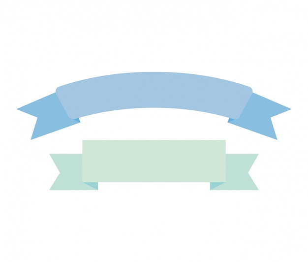 Ribbon frame decoration isolated icon Free Vector
