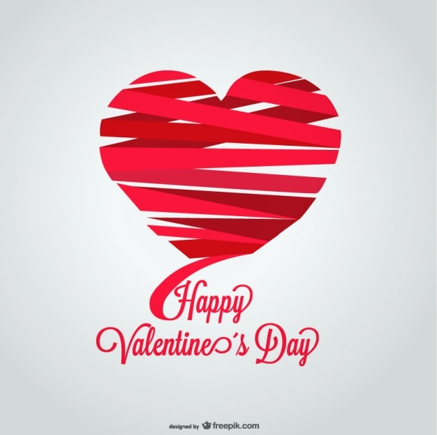 Ribbon Heart Shape ValentineS Day Card Design Vector  Free Download
