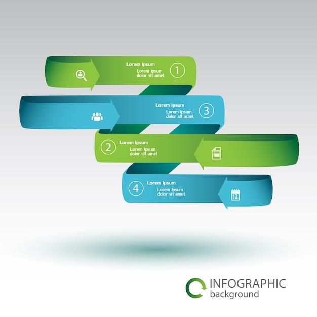 Лента инфографики бизнес-концепция с зелеными и синими изогнутыми стрелками, четыре варианта и изолированные значки Бесплатные векторы