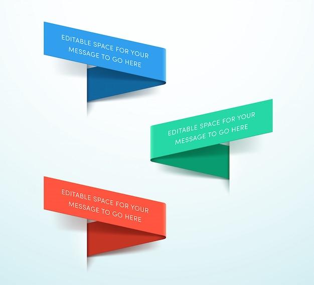 Ribbon labels 3d colorful set of three vector Premium Vector