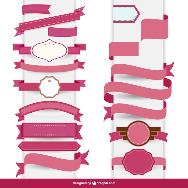 Ribbon pink decorative template  Free Vector