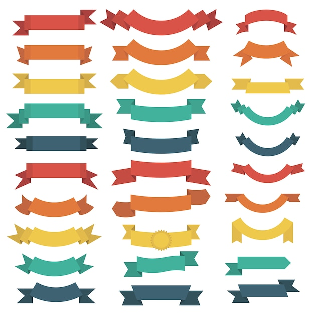 Ribbon set in flat style isolated Premium Vector