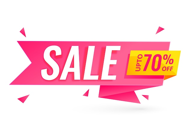 Ribbon style sale banner with offer details Free Vector