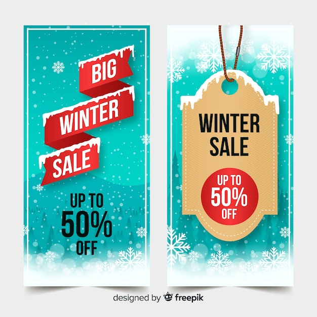 ribbon winter sales banner template vector free download