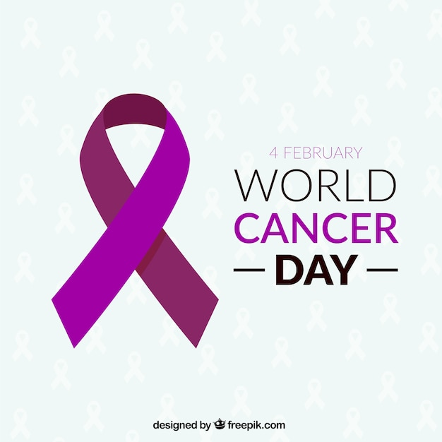 Ribbon for world cancer day Free Vector