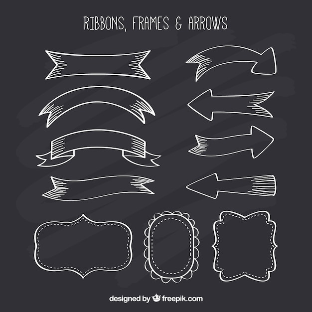 Ribbond, frames and arrows collection in chalkboard style Free Vector