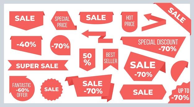 리본과 배너. 판매 가격 태그 및 할인 제공 스티커 그래픽 디자인 템플릿. 벡터 새로운 모양 빨간 리본 레이블, 아이콘, 뜨거운 광고 또는 프로모션 판매를위한 배지 프리미엄 벡터