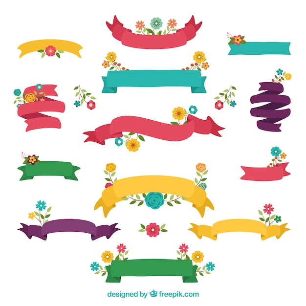 Ribbons collection in spring style Free Vector
