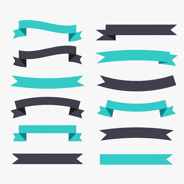 Ribbons decoration set in black and turquoise color Free Vector