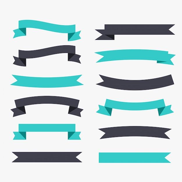검은 색과 청록색으로 설정된 리본 장식 무료 벡터