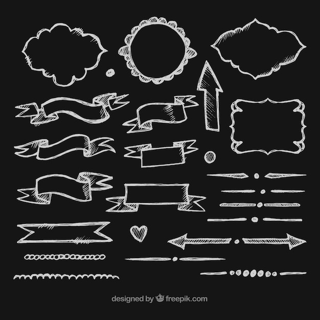 Ribbons, frames and arrows collection in chalkboard style Free Vector