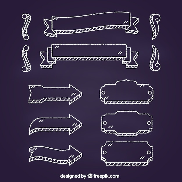 Ribbons frames and arrows collection in chalkboard style Free Vector
