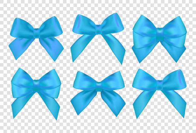 リボンセット。リボン付きの青いギフト弓。青いギフトリボンと弓。 Premiumベクター