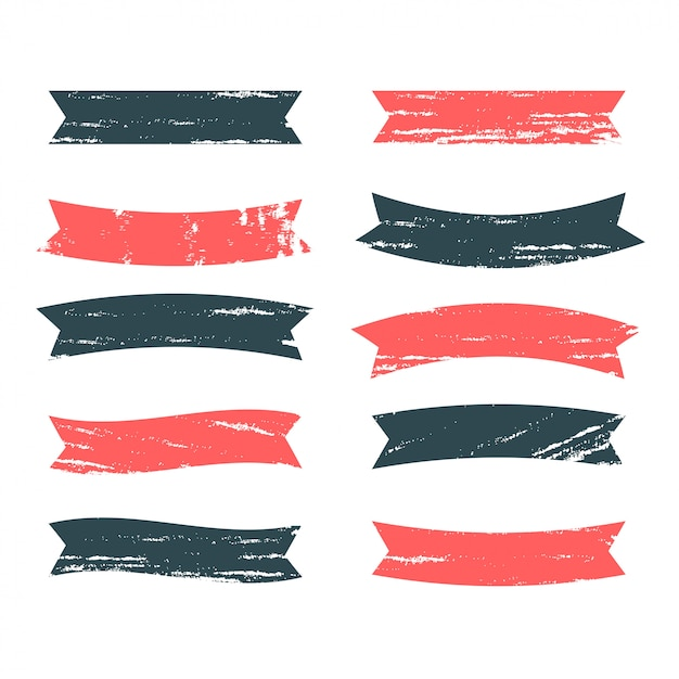 Ribbons set in grunge dirty style Free Vector