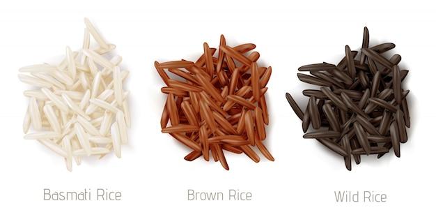 Вид сверху на кучу рисовых басмати, коричневых и диких зерен Бесплатные векторы